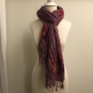 Accessories - Purple & Pink Paisley Printed Scarf